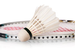 Shuttlecock Near Badminton Racket Stock Photography