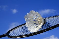 Shuttlecock and part of racket Stock Photo