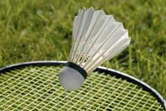 Shuttlecock and racket Royalty Free Stock Photo