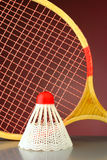Shuttlecock and racket badminton stock images