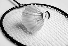 Shuttlecock a racket of badminton Royalty Free Stock Photos