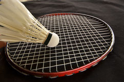 Shuttlecock with racket for badminton game Royalty Free Stock Photography