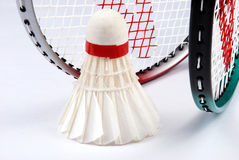 Shuttlecock and rackets Royalty Free Stock Image