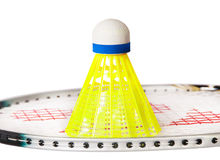 Shuttlecock stand on the badminton racket Royalty Free Stock Photos