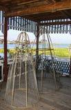 Shuttlecocks рыбной ловли, традиционный путь рыбной ловли на Lak Inle стоковые фотографии rf