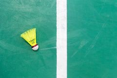 Shuttlecocks on badminton courts. Top view royalty free stock photos