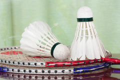 Shuttlecocks and badminton racket. Two shuttlecocks and badminton racket Royalty Free Stock Photo
