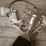 Shuttlecocks, racket and badminton trophy on wood background Royalty Free Stock Photo