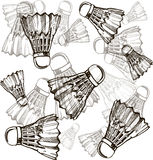 Shuttlecocks in sketch style. Badminton shuttlecocks line icon, thin contour on white background. Royalty Free Stock Images
