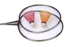 shuttlecocks två för badmintonracquets Arkivfoto