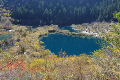 Shuzheng lakes i Jiuzhaigou fotografering för bildbyråer