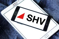SHV Holdings logo. Logo of SHV Holdings on samsung mobile. SHV Holdings is a privately owned Dutch trading company, regarded as one of the world`s largest Stock Image