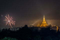 Shwe Dagon Pagoda New Year Firework Royalty Free Stock Images