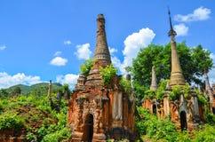 Shwe Indein Pagoda in Inle Lake, Shan State, Myanmar Stock Image