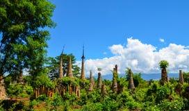 Shwe Indein Pagoda in Inle Lake, Shan State, Myanmar Royalty Free Stock Photos