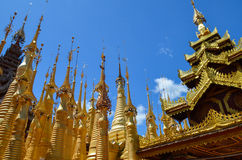 Shwe Indein Pagoda in Inle Lake, Shan State, Myanmar. The Indein pagoda complex is situated in the Western part of Inle Lake. There are about 1000 stupas in the Stock Photo