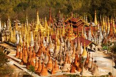 Shwe Indein - sacred place near Inle lake, Myanmar. Shwe Indein - sacred place near Inle lake. Myanmar Royalty Free Stock Images