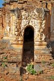 Shwe Inn Dain Pagoda complex. Architecture details of the entrance and decoration of one pagoda at the Shwe Inn Dain Pagoda complex, Indein village, Inle Lake stock photos