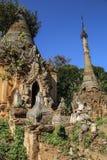 Shwe Inn Dain Pagoda complex in Indein village Inle Lake Myanmar. Burma Stock Photos
