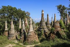 Shwe Inn Dain Pagoda complex in Indein village Inle Lake Myanmar. Burma Royalty Free Stock Photo