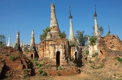 Shwe Inn Dain Pagoda complex. Indein village, Inle Lake, Myanmar. Shwe Inn Dain and its 1054 pagodas history is shrouded in mystery: Myanmar historical records stock image