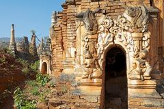 Shwe Inn Dain Pagoda complex. Indein village, Inle Lake, Myanmar. Shwe Inn Dain and its 1054 pagodas history is shrouded in mystery: Myanmar historical records royalty free stock image