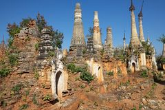 Shwe Inn Dain Pagoda complex. Indein village, Inle Lake, Myanmar. Shwe Inn Dain and its 1054 pagodas history is shrouded in mystery: Myanmar historical records stock photo
