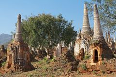 Shwe Inn Dain Pagoda complex. Indein village, Inle Lake, Myanmar. Shwe Inn Dain and its 1054 pagodas history is shrouded in mystery: Myanmar historical records stock photos