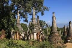 Shwe Inn Dain Pagoda complex in Indein village Inle Lake Myanmar. Burma Royalty Free Stock Photography