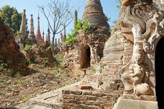 Shwe Inn Dain Pagoda complex. And sculpture, Indein village, Inle Lake, Myanmar. Shwe Inn Dain and its 1054 pagodas history is shrouded in mystery: Myanmar stock image