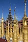 Shwe Inn Thein - Inle Lake - Myanmar (Burma). The golden stupa of Shwe Inn Thein Paya temple complex at Ithein (also Indein) near Inle Lake in Shan State in Royalty Free Stock Image