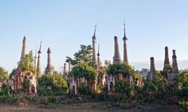 Shwe Inn Thein Pagoda Complex on Inle lake, Myanmar royalty free stock photography