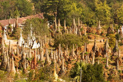 Shwe Inn Thein pagoda at Indein village Stock Photography