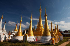 Shwe Inn Thein pagoda at Indein village, Inle Lake. Myanmar royalty free stock images