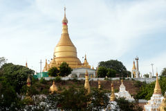 Shwe Kyat Yat Pagoda on the hill near Ayeyarwady river in Myanmar. Royalty Free Stock Images
