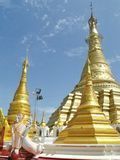 Shwe Muay Wan Temple. Shwe Muay Wan Paya is a Myawaddy's most important temple,a traditional bell-shaped stupa gilded with many kilos of gold and topped by more royalty free stock photos