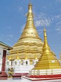 Shwe Muay Wan Temple. Shwe Muay Wan Paya is a Myawaddy's most important temple,a traditional bell-shaped stupa gilded with many kilos of gold and topped by more stock image