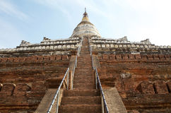 Shwe Sandaw pagoda, Bagan, Myanamar. Details of the stairway to the upper terraces at the Shwe Sandaw pagoda, Bagan, Myanmar. The pagoda was built in 1057 by Stock Photo