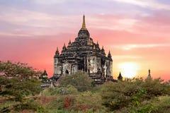 Shwe Sandaw Pagoda in Bagan at sunset in Myanmar Royalty Free Stock Images