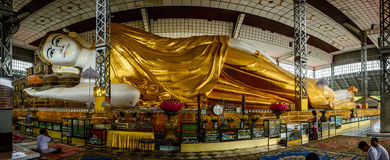 Shwe Thar Lyaung lying Buddha. It is located in Bago city, Myanmar, June-2017 royalty free stock images