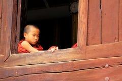 Shwe Yan Pyay Monastery And Monk, Nyaungshwe, Myanmar Stock Image