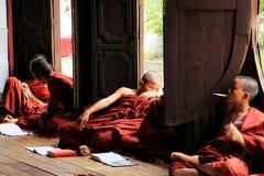 Shwe Yan Pyay Monastery And Monk, Nyaungshwe, Myanmar Stock Photo