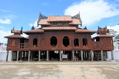 Shwe Yan Pyay Monastery And Monk, Nyaungshwe, Myanmar Stock Photos