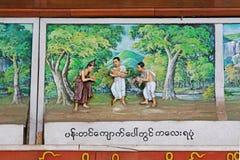 Shwedagon塔菩萨故事3D绘画,仰光,缅甸 免版税库存照片