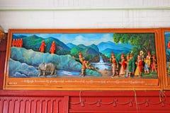 Shwedagon塔菩萨故事3D绘画,仰光,缅甸 库存图片