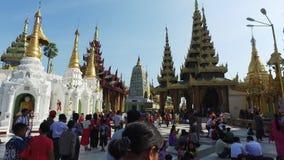 Shwedagon塔访客,仰光 股票视频