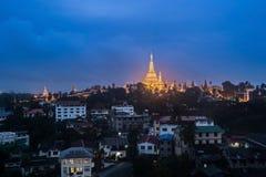 Shwedagon dans la ville de Yangon Photo libre de droits