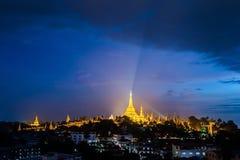 Shwedagon dans la ville myanmar de Yangon Images libres de droits