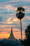 Shwedagon dans le coucher du soleil Images stock