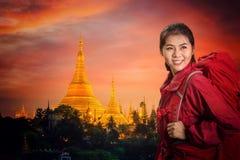 Shwedagon goden pagoda. With sunset in Yangon city, Myanmar Stock Images
